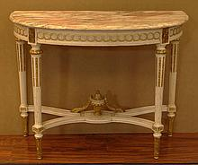 Carved Gilt Wood Marble Top Console Table. Shaped Pink and White Marble Top above a Carved Gilt Wood and White Finished Base, Cross Stretcher with a Carved Wreath and Urn. Very Good Condition. Measures 33-1/4 Inches Tall by 42-1/4 Inches Across and
