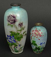 Two (2) Early 20th Century Japanese Ginbari Cloisonné Vases. Smaller Vase Signed. Good Condition. Larger Measures 6 Inches Tall and 2-1/4 Inches Wide. Shipping $38.00