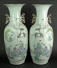 Large Pair of 19/20th Century Chinese Porcelain Vases with Painted Maidens in Garden and Calligraphy. Red Seal Mark to Base. Rubbing Otherwise Good Condition or Better. Measure 22-7/8 Inches Tall and 9 Inches Wide. Shipping $225.00