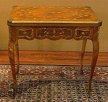 Mid 20th Century Louis XV-style Bronze Mounted Marquetry Inlay Mahogany Folding Game Table with Single Drawer. Top Opens to Felt Surface. Signed Made in Spain. Minor Surface Wear Consistent with Normal use Otherwise Good Condition. Measures 30-1/2