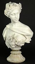 19th Century Guglielmo Pugi Italian Finely Carved Alabaster Bust of a Girl. Very Detailed, Her Hair is Pulled Back in a Ponytail with a Wreath upon Her Head, Draped Floral Bordered Blouse and a Harp Across Her Chest. Signed G. Pugi Firenze. A Few