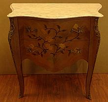 Mid 20th Century Possibly Spanish Louis XV-style Bronze Mounted Marquetry Inlay Mahogany Two Drawer Commode with Marble Top. Unsigned. Fading and Minor Surface Wear from Normal use Otherwise Good Condition. Measures 31-3/4 Inches Tall and 33 Inches