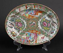 19th Chinese Porcelain Rose Medallion Oval Platter. Finely Decorated with Court Scenes, Butterflies, Birds and Flora. Very Good Condition. Measures 11-1/8 Inches long and 8-3/4 Inches Wide. Shipping $28.00