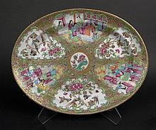 19th Chinese Porcelain Rose Medallion Oval Platter. Finely Decorated with Court Scenes, Butterflies, Birds and Flora. Very Good Condition. Measures 14-1/4 Inches Long by 11 Inches Wide. Shipping $38.00