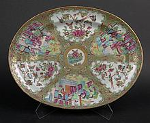 19th Chinese Porcelain Rose Medallion Oval Platter. Finely Decorated with Court Scenes, Butterflies, Birds and Flora. One (1) Small Rim Chip Otherwise in Good Condition. Measures 15-1/4 Inches long by 11-3/4 Inches Wide. Shipping $35.00