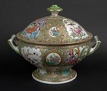 19th Century Chinese Porcelain Rose Medallion  Covered Tureen. Finely Decorated with Court Scenes, Birds, Butterflies and Flora. Very Good Condition. Measures 10-3/4 Inches Tall by 12-1/2 Inches Long and 8 Inches Wide. Shipping $85.00