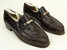 Man's Vintage Pair of Italian Gucci Alligator Loafers. Signed. Used/Worn Condition with trees. European Size 41 (US Size 8) Shipping $44.00