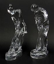 Pair of Baccarat Crystal France Male and Female Golf Figures. Signed Baccarat Acid Etched Signature. Very Good Condition. Measures 9 Inches Tall. Shipping $58.00