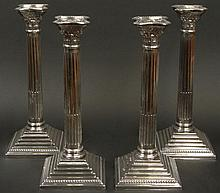 Four (4) English JP&Co.; EPNS, Silver Plate Corinthian Column Candlesticks. Signed. Good Condition or Better. Measure 12-1/2 Inches Tall and 4-7/8 Inches Square at base. Shipping $64.00