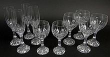 Lot of Ten (10) Pieces Baccarat Massena Stemware. The Lot Includes 2 Claret Wine Glasses, 6-1/2 Inches Each; 4 Water Goblets, 7 Inches; 4 Champagne Flutes, 8-1/2 Inches. Signed on Bottom With Baccarat Logo. Very Good Condition. Domestic Shipping