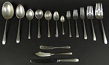 Sixty-Six (66) Piece Set Towle Sterling Silver Flatware in the Cascade Pattern. This Set includes: 7 Forks, 7-3/8 Inches; 7 Hollow Handled Knives, 8-3/4 Inches; 8 Salad Forks, 6-1/2 Inches; 10 Teaspoons, 6-1/2 Inches; 8 Demitasse Spoons, 4-1/8
