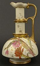 19th C Royal Worcester Porcelain Hand Painted Ewer. Features a Floral Motif with Gilt Accents.  Worcester Back Stamp on Bottom and Date Letter O dating the Ewer 1889. Light Wear to Gilt Décor. Measures 9-1/2 Inches Height. Shipping $72.00