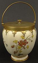 19th C Royal Worcester Porcelain Hand Painted Biscuit Jar. Features Brass Mounts as well as a Floral Motif with Gilt Accents. Signed with Royal Worcester Back Stamp on Bottom and dots dating the Jar 1894. Light Wear to Gilt Décor. Measures 6 Inches