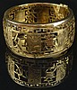 Mid 20th Century Modern Chinese Design 14 Karat Yellow Gold Reticulated Cuff Bangle Bracelet. Signed 14K, 585 and K. Minor Surface Wear Otherwise Good Condition. Measures 1-1/4 Inches Wide and 2-1/4 Inches Interior Diameter. Approx. Weight: 44.80