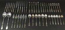 Forty Seven (47) Piece Christofle Art Deco Silver Plate Partial Flatware Service. Service Includes 5 Forks Measuring 8 Inches, 6 Salad Forks Measuring 7 Inches, 4 Dessert Forks Measuring 7-1/4 Inches, 6 Knives Measuring 9-1/4 Inches, 6 Butter Knives