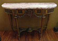 Large 19th Century French Louis XVI-style Carved and Gilt Wood Demilune Console with Marble Top. Unsigned. Rubbing to Gilt Surface Otherwise Good Condition. Measures 41 Inches Tall, 55 Inches Wide and 20 Inches Deep. We will not ship this item due to