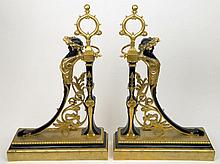 Pair of 19th Century French Empire Gilt Bronze Andirons. Unsigned. Good Condition or Better. Measure 23-1/2 Inches Tall and 15-1/2 Inches Wide. Shipping $198.00