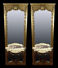 Large Pair of 19th Century French Carved and Gilt Wood Boiserie Mirror Panels with Attached Rococo Consoles and Serpentine