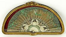 Antique Hand Painted Silk Fan. Decorated Throughout with Hand Painted floral Motif. Framed in Custom Shadowbox Frame Under Glass. Unsigned. Losses and Fraying to Cloth. Fan Measures 17 Inches Length, 8-1/2 Inches Width, The Shadowbox Measures 19-1/2