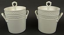 Pair 19/20th Century White Porcelain Fruit Coolers With Lids. Each Signed with Blue KPM Mark Under glaze. One Handle on One Pot has an Old Restoration or in Otherwise Good