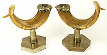 Anthony Redmile, British (20th C) Pair Mounted Rams Horns On Silvered Metal Stands and Decorated With Agate Stones and Silvered metal trims. c.1970's. Stamped: Antony Redmile. Measures 9 Inches Tall, 12 Inches Wide. Very Good Condition. Shipping