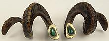 Anthony Redmile, British (20th C) Pair Rams Horns Decorated With Malachite Stones and Silvered metal trims. C.1970's. Unsigned. Measures 7-Inches Tall, 11-1/2 Inches Wide. Very Good Condition. Shipping $69.00