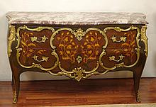 20th Century Louis XV style Gilt Bronze Mounted Commode with Floral Marquetry and Marble Top. Unsigned. Good Condition or Better. Measures 34 Inches Tall, 60 Inches Wide and 22 Inches Deep. We will not ship this item due to its size. We will happily