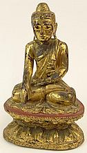 19th Century or Earlier Sino-Tibetan Carved, Lacquered and Gilt Wood Seated Buddha Figure on Double Lotus Base. Unsigned. Rubbing Otherwise Good Condition. Measures 12 Inches Tall and 7-5/8 Inches Wide at Base. Shipping $68.00