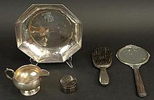 Five (5) Piece Lot of Sterling Table Top Items. This Lot includes: FB Roger Silver Co. Creamer, Measures 3 Inches and Weighs 3.472 Troy Oz; Sterling Stamp Box, Measures 1-1/8 Inches and Weighs 1.687 Troy Oz ; Lebolt Arts & Crafts Sterling Hand