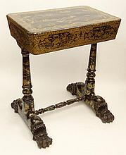 English Regency Chinoiserie Sewing Table with Carved Paw Feet and Fitted Interior with Ivory Embellishments. Unsigned. Rubbing and Minor Losses, Surface Wear Consistent with Age and Normal Use Otherwise Good Antique Condition. Measures 30 Inches Tall