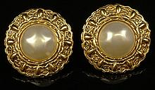 Pair Retro Chanel Faux Pearl Gold Tone Clip On Earrings. Signed on Back Chanel, Made In France. Good Condition. Measures 1-5/8 Inches Diameter. Domestic Shipping $28.00