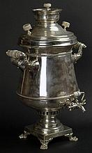 Impressive Large 19th Century Russian Silver Samovar With Ivory grips and knops, laurel leaf borders and footed square pedestal. Signed with the Mark of Vladimir Morozov, Maker and Aleksandr Timofeyevich Shevyakov Master Assayer, St. Petersburg and