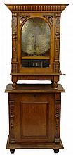Antique 19/20th C Komet Walnut Coin-op Double Comb Music Box on Stand. Original Etched Glass Door. The Stand has a Pull out Storage for Discs. Wind-Up action. Plays 20-3/4 Inch Discs. In Working Order. Marked Inside and also on the Door. Includes 19
