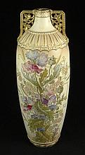 Large Early 20th Century Possibly German Royal Bonn Painted and Gilt Porcelain Vase. Illegible Mark to Base. Damage to Neck, Glaze Crazing and Rubbing to Gilt Decoration. Please Examine this Lot Carefully Before Bidding. Measures 22 Inches Tall and