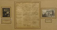 Original Letter to Nathaniel Goodwin From John Hancock. Signed, Sealed and Dated 1781. The Letter States that John Hancock Appointed Nathaniel Goodwin as Brigadier General of the Militia. The latter is Framed Under Glass with a Print of John Hancock