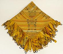 Antique Silk Cigar Ribbon Quilt/Table Cover. Very Busy Graphic Design with Ribbons as Tassels. True Antique Condition, with Wear to Lining, Some Tears and Losses. The Main Square Measures 30 Inches by 30 Inches Square with 6-1/2 Inch Tassels.