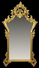 Vintage Italian Hand Carved Gilt Wood Mirror. Made In Italy Label en verso. Some losses or in Otherwise Good Condition. Measures 40-1/2 Inches Tall and 22-1/2 Inches Wide. We will not ship this item due to its fragility. We will happily recommend a
