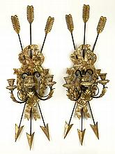 Pair of 20th Century Directoire style Gilt Wood and Metal Three Light Candle Sconces. Unsigned. Rubbing and Minor Paint Loss Otherwise Good Condition. Measure 33 Inches Tall and 10 Inches Wide. Shipping $150.00