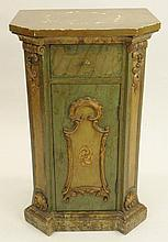 Early 20th Century Italian Baroque style Carved and Painted Wood Cabinet. Unsigned. Rubbing and Wear to Painted Surfaces Otherwise Good condition. Measures 31-3/4 Inches Tall and 19-1/2 Inches Wide. We will not ship this item due to its size. We will