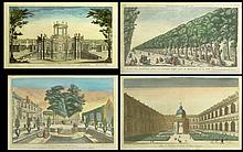 Collection of Four (4) 18th Century French Hand Colored Engravings: