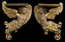 Pair of 17th/18th Century Polychrome Painted Wall Hanging Brackets/Shelves with Gilt Carved Figural Winged Putti. Each Retains its Original Painted Surface. Surface Wear and Paint Loss Consistent with Age Otherwise in Very Good Condition. Each
