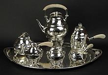 Important William G. DeMatteo, American (1895-1980) Circa 1950 Large and Heavy Hand Made Seven (7) Piece Sterling Silver Coffee and Tea Service in the