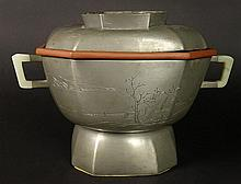 18/19th Century Chinese Pewter and Glazed Pottery Rice Warmer. Decorated with Carvings and Calligraphy on Both Pewter and Pottery. White Jade Handles. Inset Finial Missing on Lid, Crazing on Pottery or in Otherwise Good Condition. Measures 6-1/4