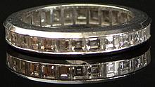 Fine Quality Antique Invisible Set French Cut Approximately 3.5 Carats Diamond and Platinum Eternity Band. Signed Plat. Ring Size 6-3/4. Diamonds E-F Color, VVS-VS Clarity. Good Condition. Shipping $26.00