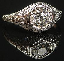 EGL Certified Lady's Art Deco Approximately 1.0 Carat Old European Cut Diamond and Filigree Platinum Engagement Ring. Signed Platinum. Diamond E-F Color, VS1 Clarity. Ring Size 8. Approximate Weight: 2.30 Pennyweights. Very Good Condition. EGL Certi.
