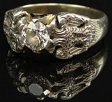 Unusual German Old European Cut Diamond, Platinum and 18 Karat Gold Ring, Size 8-1/4. Good to Very Good Condition. Measures Approximately 0.70 Carats of H-I Color and SI2-I1 Clarity. Weighs 5.85 Pennyweights. Shipping $26.00