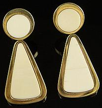 Pair of Vintage 18 Karat Yellow Gold and Ivory Pendant Ear Clips. Signed 18K and 27716. Surface Wear from Normal Use and Crack to Ivory Otherwise Good Condition. Measure 1-7/8 Inches Long and a bit over 3/4 Inch Wide. Approx. Weight: 13.4