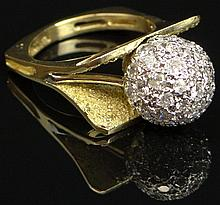 Unusual Lady's Mid Century Modern Hand Made 1.5 Carat Pave Set Diamond, 14 Karat Yellow Gold and Platinum Ball Ring Pave set with Round Brilliant Cut Diamonds. Diamonds F-G Color VS1-VS2 Clarity. Unsigned. Minor Surface Wear from Normal Use Otherwise