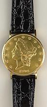 Vintage Eska Swiss Made 1904 Liberty Head US Twenty Dollar Gold Coin Watch with Crocodile Strap. Signed. Minor Surface wear to coin Consistent with Age and Use Otherwise Good Condition. Strap Measures 8-1/2 Inches Long. Shipping $32.00