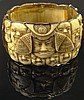 Mid 20th Century Japanese 14 Karat Yellow Gold and Ivory Bracelet with Finely Detailed Carved Mask Detail. Signed 14K. Carved Ivory Sections Have Been Re-glued to Gold, Surface Wear Consistent with Normal Use Otherwise Good Condition. Measures